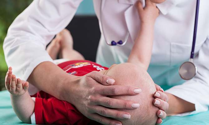 child being examined during bssny's craniofacial clinic in white plains